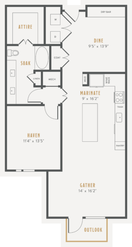 Alexan Lower Greenville One Bedroom Floor Plans A20