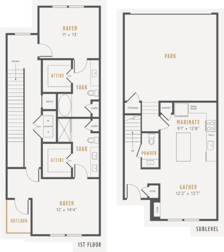 Alexan Lower Greenville Townhomes Floor Plans TH1
