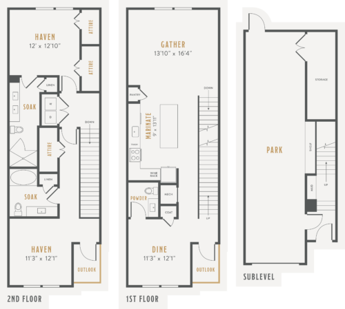 Alexan Lower Greenville Townhomes Floor Plans TH3